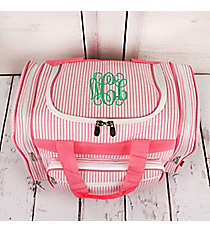 "Pink Striped Seersucker Duffle Bag 17"" #SR417-PINK"