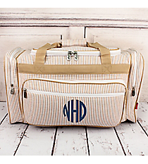 "Khaki Striped Seersucker Duffle Bag 23"" #SR423-KHAKI"