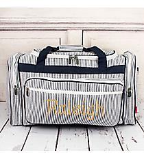 """Navy Striped Seersucker Duffle Bag 23"""" #SR423-NAVY"""