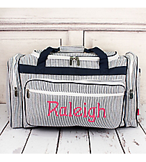 "Navy Striped Seersucker Duffle Bag 23"" #SR423-NAVY"