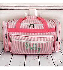 "Pink Striped Seersucker Duffle Bag 23"" #SR423-PINK"