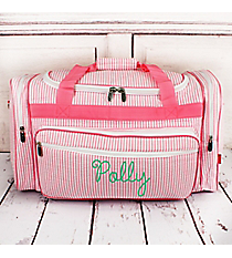 "Pink Striped Seersucker Duffle Bag 23"" #SR423-PINK"