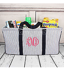 Navy Striped Seersucker Collapsible Haul-It-All Basket with Mesh Pockets #SR603-NAVY