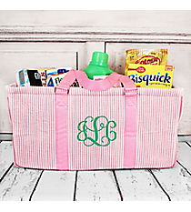 Pink Striped Seersucker Collapsible Haul-It-All Basket with Mesh Pockets #SR603-PINK