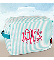 Aqua Striped Seersucker Cosmetic Case #SR613-AQUA