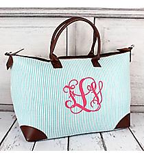 Aqua Striped Seersucker Large Tote Bag #SR642-AQUA