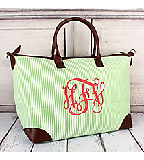 Lime Striped Seersucker Large Tote Bag #SR642-LIME