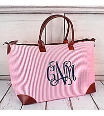 Pink Striped Seersucker Large Tote Bag #SR642-PINK