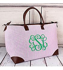 Purple Striped Seersucker Large Tote Bag #SR642-PURPLE