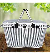 Navy Striped Seersucker Collapsible Insulated Market Basket with Lid #SR658-NAVY