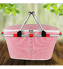 Red Striped Seersucker Collapsible Insulated Market Basket with Lid #SR658-RED