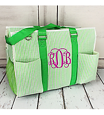 Lime Striped Seersucker Large Organizer Tote #SR733-LIME