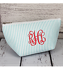 Aqua Striped Seersucker Cosmetic Bag #SR820-AQUA