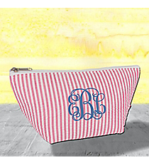 Pink Striped Seersucker Cosmetic Bag #SR820-PINK