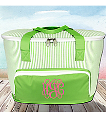 Lime Striped Seersucker Cooler Tote with Lid #SR89-LIME