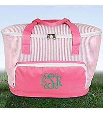 Pink Striped Seersucker Cooler Tote with Lid #SR89-PINK