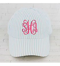 Aqua Striped Seersucker Cap #SR899-AQUA