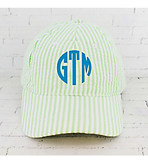 Lime Striped Seersucker Cap #SR899-LIME