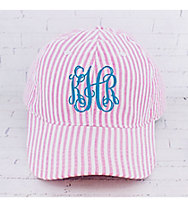 Pink Striped Seersucker Cap #SR899-PINK