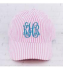 Pink Striped Seersucker Cap #SR899-PINK