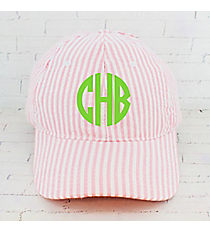 Coral Striped Seersucker Cap #SR899-CORAL