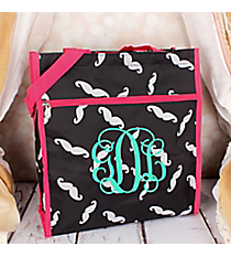 Black and Gray Mustache with Pink Trim Shopper Tote #ST13-1329-P
