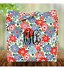 Blue and Pink Flowers Laminated Shopper Tote #ST013-3004