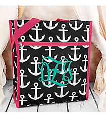 Black and White Anchor with Pink Trim Shopper Tote #ST13-706-BK-PK