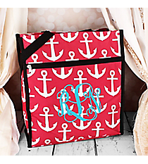 Pink and White Anchor with Black Trim Shopper Tote #ST13-706-PK-BK