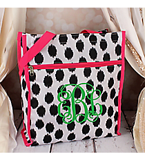 Black Brushed Dots with Pink Trim Shopper Tote #ST13-707-BK-PK