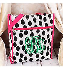 Black Brushed Dots with Pink Trim Shopper Tote #ST13-707-BK-PK