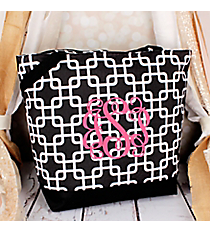Market Shopping Tote in Black and White Overlapping Squares #ST18-1333