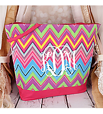Market Shopping Tote in Rainbow Chevron with Pink Trim  #ST18-1337-P