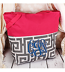 Market Shopping Tote in Gray and White Greek Key and Pink #ST18-2-704-GR-PK