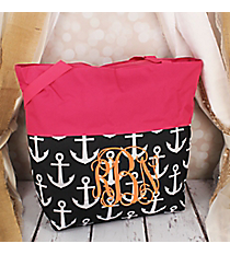 Market Shopping Tote in Black and White Anchor and Pink #ST18-2-706-BK-PK