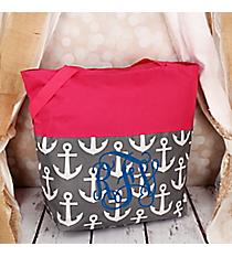 Market Shopping Tote in Gray and White Anchor and Pink #ST18-2-706-GR-PK
