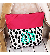 Market Shopping Tote in Black Brushed Dots and Pink #ST18-2-707-BK-PK