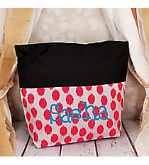 Market Shopping Tote in Pink Brushed Dots and Black #ST18-2-707-PK-BK