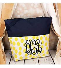 Market Shopping Tote in Yellow Brushed Dots and Navy Blue #ST18-2-707-Y-BL