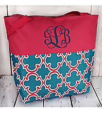 Market Shopping Tote in Blue and Pink Moroccan and Pink #ST18-2-708-BL