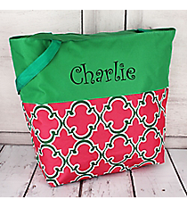 Market Shopping Tote in Pink and Green Moroccan and Green #ST18-2-708-P