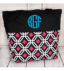 Market Shopping Tote in Black and Pink Diamond Daze and Black #ST18-2-709-BK