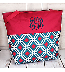 Market Shopping Tote in Blue and Pink Diamond Daze and Pink #ST18-2-709-BL