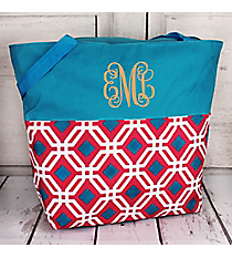 Market Shopping Tote in Pink and Blue Diamond Daze and Blue #ST18-2-709-P