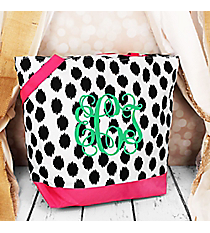 Market Shopping Tote in Black Brushed Dots with Pink Trim #ST18-707-BK-PK
