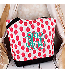 Market Shopping Tote in Pink Brushed Dots with Black Trim #ST18-707-PK-BK