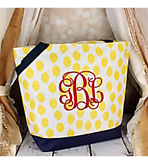 Market Shopping Tote in Yellow Brushed Dots with Navy Blue Trim #ST18-707-Y-BL