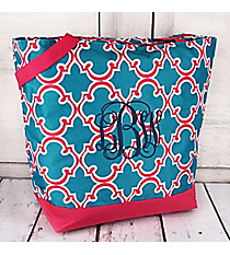 Market Shopping Tote in Blue and Pink Moroccan #ST18-708-BL