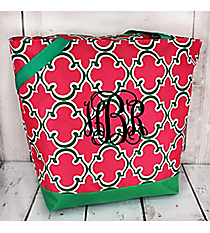 Market Shopping Tote in Pink and Green Moroccan #ST18-708-P