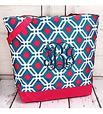 Market Shopping Tote in Blue and Pink Diamond Daze #ST18-709-BL